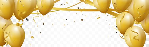 Celebration banner with gold confetti and balloons. Illustration of Celebration banner with gold confetti and balloons Royalty Free Stock Photo