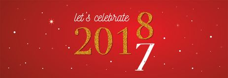2018 celebration banner . gold 2017 numbers turning 2018 on red background. Vector illustration Stock Photo