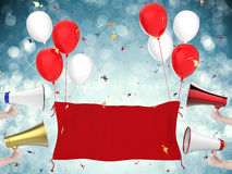 Celebration banner with hand holding megaphones Stock Images