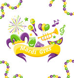 Celebration Banner with Set Carnival Icons and Objects for Mardi Gras, Fat Tuesday Royalty Free Stock Image