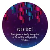 Celebration banner or sticker with blue and pink gradient color ribbon on dark purple background with stars and with your text. Ve. Celebration banner or sticker royalty free illustration