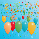 Celebration banner template. With colorful balloons, party flags, festive ribbons and confetti. Vector illustration on blue background Stock Photography