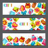 Celebration banners or flayers with colorful gift Stock Photo