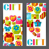 Celebration banners or flayers with colorful gift Stock Photos