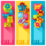 Celebration banners or flayers with colorful gift Royalty Free Stock Photos