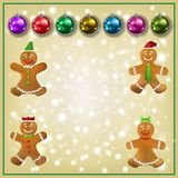 Celebration beige greeting Gingerbread man and Christmas decorations. Celebration beige greeting with Gingerbread man and Christmas decorations stock illustration