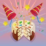 Celebration birthday card theme with cute tart. Sprinkles topping Stock Photography