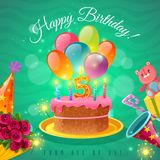 Celebration Birthday Poster. Happy birthday greeting card for five year kid with congratulations cake balloons and party hat vector illustration Royalty Free Stock Photos