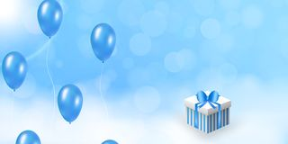 Celebration design with blue balloon in the sky. stock images