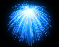 Celebration: blue fireworks at night. Over black background Royalty Free Stock Images