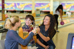 Celebration in bowling center Royalty Free Stock Photo