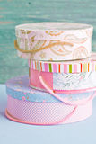 Celebration box. Three birthday boxes, maybe as party supplies Royalty Free Stock Image