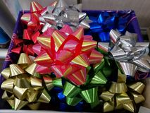 Celebration the boxing day with closed up  variety colorful ribbon collection for gift. As background Stock Images