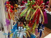 Celebration the boxing day with variety colorful ribbon collection. As a background Royalty Free Stock Photography