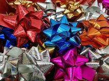 Celebration the boxing day with variety colorful ribbon collection for gift. Celebration the boxing day with closed up  variety colorful ribbon collection for Royalty Free Stock Image