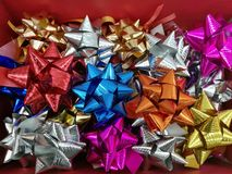 Celebration the boxing day with variety colorful ribbon collection for gifts. Celebration the boxing day with variety colorful ribbon collection for gift Royalty Free Stock Images