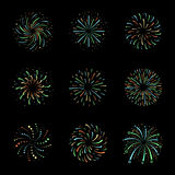 Celebration Brightly festive isolated firework bursts or balls vector. Illustration Royalty Free Stock Images
