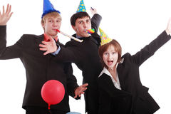 Celebration business. Group of business people celebrating smth in office. Shot in studio Stock Images