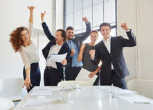 Celebration of business team. With enthusiasm in start-up Stock Photos