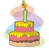 Celebration cake. Cartoon illustration of a big cake with a candle Royalty Free Stock Photos