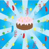 Celebration with cake and balloons Royalty Free Stock Photos