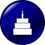 Celebration cake with candle vector button symbol Royalty Free Stock Photo