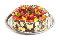 Celebration cake decorated with fruits and chocolate Royalty Free Stock Photo