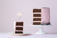 Celebration cake with sparkler Royalty Free Stock Images