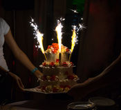 Celebration cake with candles and cake sparklers  Royalty Free Stock Photos
