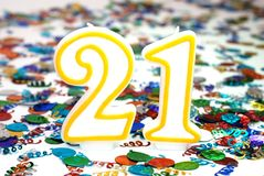 Celebration Candle - Number 21 Royalty Free Stock Photography