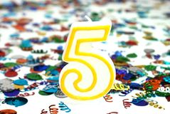 Celebration Candle - Number 5 Stock Image