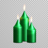 Celebration candle set of green vector candles. Aromatic green candles. Vector 3D realistic burning blue candle set with flames.  gold glitter candle on Stock Photos