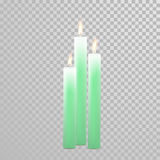 Celebration candle set of green vector candles. Aromatic green candles. Vector 3D realistic burning blue candle set with flames.  round cylindrical shape candle Stock Photo