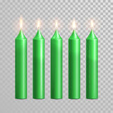 Celebration candle set of green vector candles. Aromatic green candles. Vector 3D realistic burning blue candle set with flames.  round cylindrical shape candle Royalty Free Stock Photography