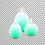Celebration candle set of green vector candles. Aromatic green candles. Vector 3D realistic burning blue candle set with flames.  round cylindrical shape candle Stock Photography