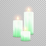 Celebration candle set of green vector candles. Aromatic green candles. Vector 3D realistic burning blue candle set with flames.  round cylindrical shape candle Royalty Free Stock Photo