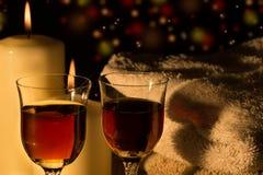 Celebration candlelight with wine Stock Image