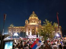 Celebration in capital of Serbia royalty free stock photos