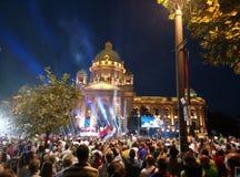 Celebration in capital of Serbia stock photo