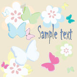 Celebration card. With butterflies and flowers and place for your text-  art Royalty Free Stock Photo