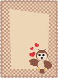 Celebration card. With an owl and hearts Royalty Free Stock Images