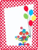 Celebration card. With a clown hoding balloons and flowers Royalty Free Stock Image