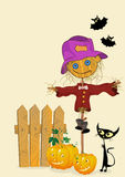 Celebration card. Scarecrow and pumkins, celebration card Royalty Free Stock Images