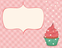 Celebration Card. Pink celebration card with cupcake and confetti. EPS 8 CMYK with global colors vector illustration Royalty Free Stock Images