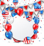 Celebration Card for American Holidays, Colorful Bunting, Balloons and Confetti Stock Photo