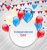 Celebration Card with Balloons. Illustration Celebration Card with Balloons and Hanging Bunting Pennants in American Flag Colors for Independence Day - Vector Stock Image