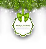 Celebration Card with Bow Ribbon and Fir Branches Royalty Free Stock Photography