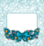Celebration card with Christmas decoration Stock Photos