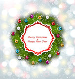 Celebration Card with Christmas Wreath and Balls Stock Photography