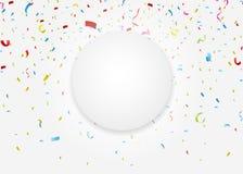 Celebration card with colorful confetti vector illustration